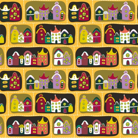 Cute seamless pattern with road and cartoon houses Illustration