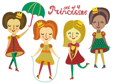 Set of 4 cute colorful Princesses