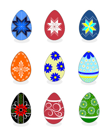 Easter eggs: vector illustration with a set of colorful painted Easter eggs isolated on white background. Some eggs have a traditional ukrainian motif like ruzha (eight pointed star) and floral elements which are used to paint pysanka (an easter egg in Uk Vector