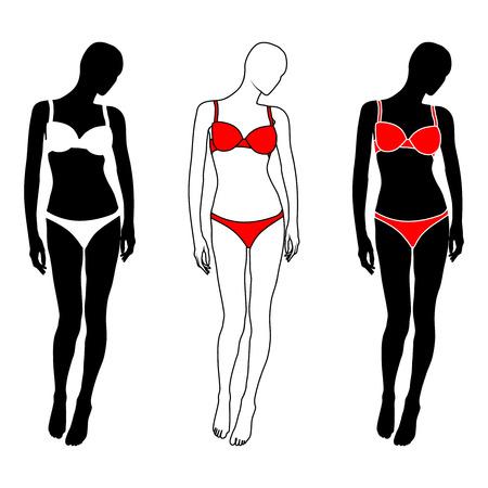 donna nuda: Isolata silhouette donna in lingerie bianco e rosso su sfondo bianco. Illustrazione vettoriale