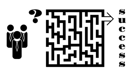 Business concept of decision making: a team of businessmen deciding which way to take in the maze to achieve success. Vector illustration