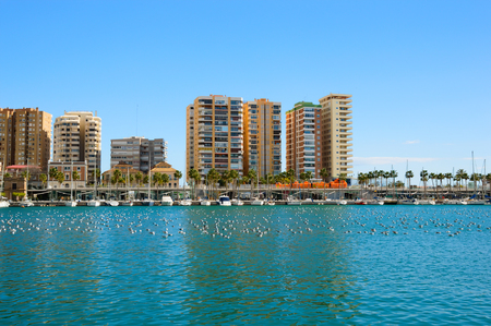 View over the port with yachts, boats and birds on water in Malaga, Spain