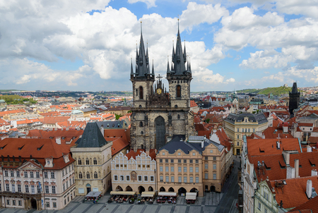 tyn: The Church of Our Lady Before Tyn, Old Town Square in Prague, Czech Republic: view from above