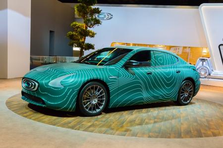 FRANKFURT, GERMANY - SEP 17, 2017: Thunder Power TP-01 EV prototype - Taiwan electric sedan at International Motor Show