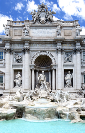 Trevi fountain or Fontana di Trevi in Rome, Italy. Architecture landmark, most famous fountain in the world with stunning artistic stonework