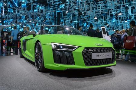 FRANKFURT - SEP 2017: Audi R8 V10 plus sports car at IAA Frankfurt Motor Show