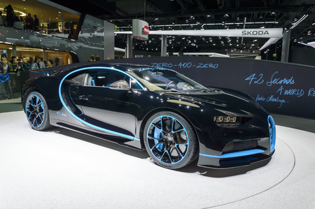 FRANKFURT - SEP 2017: Bugatti Chiron 0-400-0 at IAA Frankfurt Motor Show. Supercar set acceleration world record reaching 400 kmh in 42 seconds.
