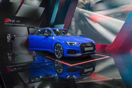 FRANKFURT - SEP 2017: blue Audi RS4 quattro Avant - car world premiere at 67th IAA Frankfurt Motor Show Editorial