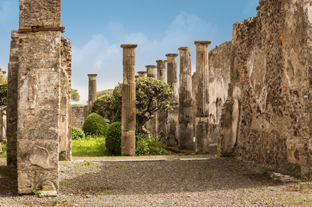 Pompeii ruins: tree and columns in a yard. Remains of the ancient Pompeii town destroyed by eruption of volcano Vesuvius, Italy Stock Photo
