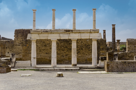 Pompeii ruins: Forum remains in the ancient Pompeii town destroyed by eruption of volcano Vesuvius, Italy