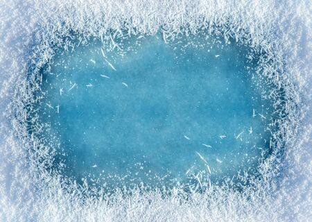 Winter background: close-up of frozen ice with snow crystals and snowflakes. Christmas and Happy New Year frame background with copyspace. Ice and snow texture Stock fotó