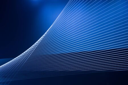 Blue abstract technology, science or business background. Threads and lines of light intersect and create winding geometric forms in perspective Banco de Imagens