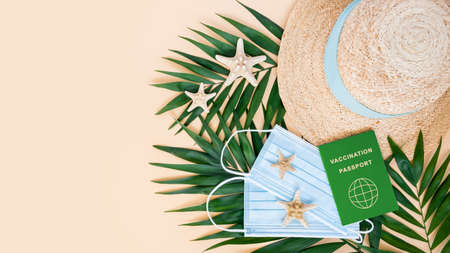 Green vaccination or immunity passport, medical mask, hat, sea stars and palm leaves on neutral background. Travel, holiday restrictions due to global coronavirus or Covid-19 pandemic, copy space 写真素材