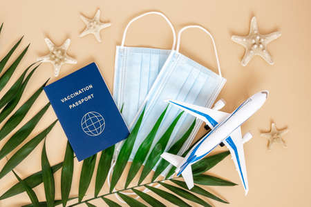 Vaccination or immunity passport, medical mask, airplane, sea stars and palm leaves on neutral beige background. Travel and holiday flight restrictions due to global coronavirus or Covid-19 pandemic