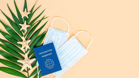 Vaccination or immunity passport, medical mask, sea stars and palm leaves on neutral beige background, copy space. Travel and holiday flight restrictions due to global coronavirus or Covid-19 pandemic 写真素材