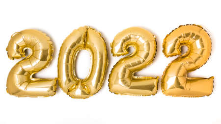 Golden 2022 balloons. Gold metallic foil numbers for Happy New Year celebration on white background. Helium balloon as holiday party decoration or postcard concept 写真素材