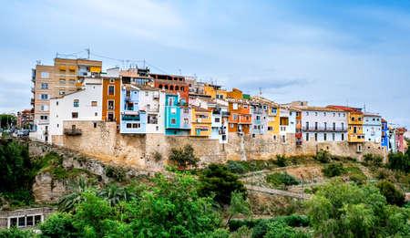 Villajoyosa village, Spain - beautiful colorful houses on hill. Popular Spanish tourist destination in Costa Blanca region on Mediterranean sea