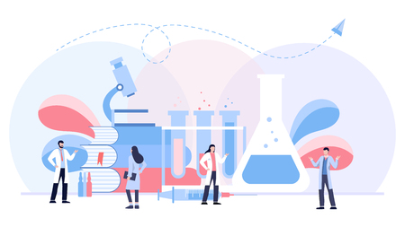 The biological laboratory illustration concept, scientis working at laboratorium , template background isolated, can be use for presentation. Zdjęcie Seryjne