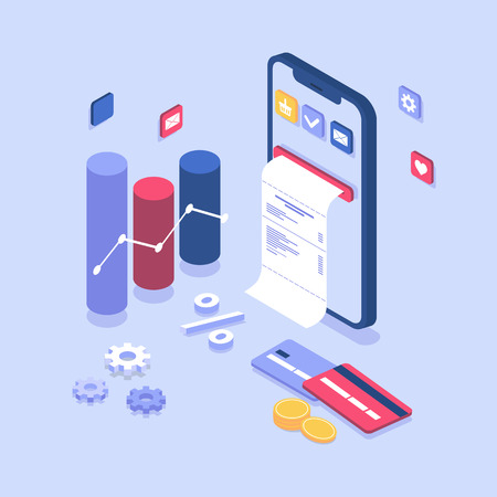 electronic bill payment notification. Online payment on isometric smartphone, bill coming out of screen. flat design concept with phone, cards, coins, buy now. Landing page and banner template, app Illustration