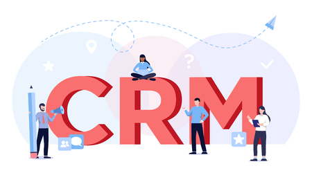 Customer relationship management concept. CRM illustration, incoming marketing idea. Business people connecting via computer.