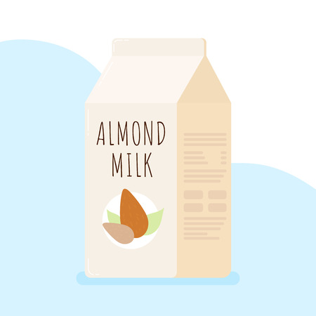 illustration with almond milk in the package.