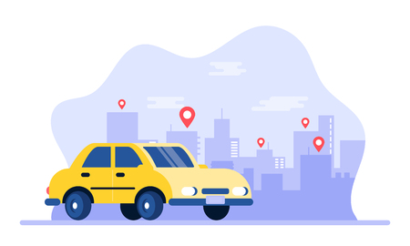 Mobile taxi. Online taxi service app. People get taxi.