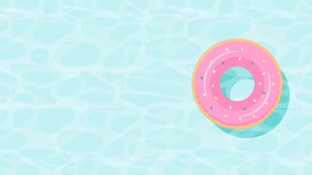 floats summer pool party invitation template vector illustration. summer time background with pool blue water and swimming ring donut. rubber ring floating on water. aqua textured background