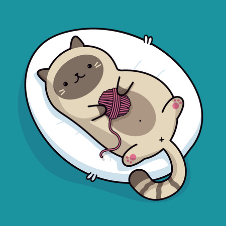 Lazy ginger cat lying on bed, cute kawaii fat kitten lying on back and playing with ball of yarn cartoon icon, vector flat illustration. Used for greeting card, banner, logo, sticker, print