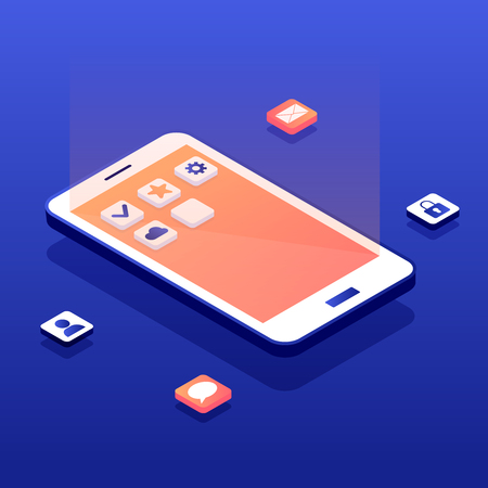 Mobile app development concept. White phone with applications icons on gradient touch screnn. Social network isometric landing page. Software API prototyping and testing background