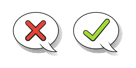 Do and Dont or Like & Unlike Icons with Positive and Negative Symbols. speech bubbles in comic retro style. Yes and No check marks. Vector illustration. Red and green check marks on white background.