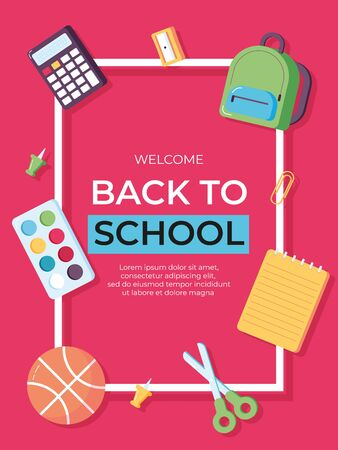 Back to school information card set. Student template of flyear, magazines, posters, book cover, banners. Calculator, scissors, notebook, backpack, watercolor, ball, pin. Office and student items