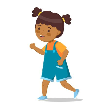 Cute little afro american girl in denim shorts is running in full-length. Funny vector african girl, isolated art on white background. Illusztráció