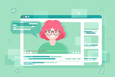 Blogging and vlogging. Cute funny girl or bloggers creates video and posting it on social media, blog or web site. Flat vector illustration. influencer marketing concept, promotion services Illustration