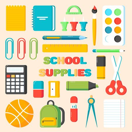 Back to school supplies. Calculator, eraser, pens, brush, scissors, ruler, backpack, ball, pin, marker, sharpener, flash drive. Office and student items set