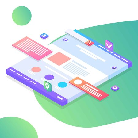 Seo optimization web page template. Isometric Web interface. Colorful website illustration. Modern Landing page concept. Page design for site and mobile development.