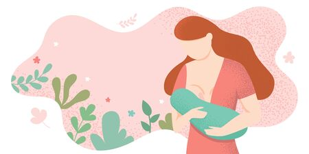 Young woman breastfeeding her newborn baby holding and nursing him in hands. Lactation concept. Breast feeding week banner, happy mother day clip art. Child drinks milk from the female breast Illustration