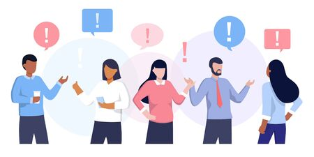 Vector illustration of communication of people in search of solutions to problems, use in web-projects and applications, collective thinking. Ethnic business people group full length team