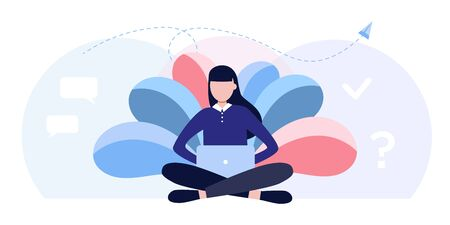 vector illustration girl student sitting lotus pose with laptop surrounded by leaves. graphic design for language courses, onlain education school. Freelancer working on computer, life work balance Illustration