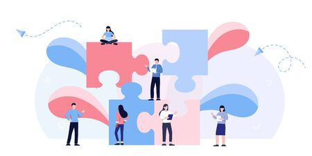 Teamwork metaphor. Business team. puzzle elements. Vector illustration flat design style. Symbol of cooperation, partnership. Ethnic business people group. Office workers talking., find solution