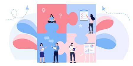 Teamwork metaphor. Business team. puzzle elements. Vector illustration flat design style. Symbol of cooperation, partnership. Ethnic business people group. Office workers talking with boss, manager.