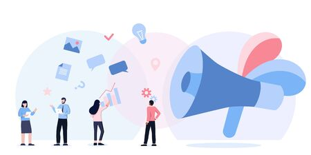 people shouting on megaphone vector concept can use web mobile app, banner, flyer. business promotion, advertising, call through the horn, online alerting. Loudspeaker talking, social media