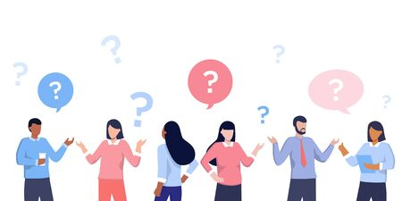 Vector illustration of communication of people in search of solutions problems, use in web-projects and applications, collective thinking. Ethnic business people group full length team, speech bubble Illustration