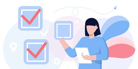 fill out form, for web banners, infographics, websites. Concept done job, checklist, long paper document to do list with checkboxes. life work balance, time management, tasks, manager, boss, success Ilustração