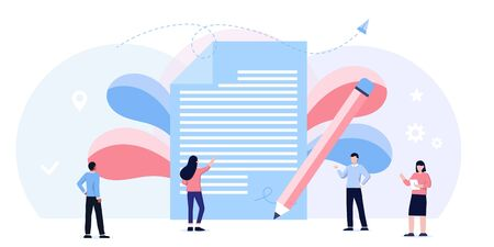 Online tax payment vector illustration concept, people filling tax form, document, contract can use for, landing page, web, mobile app, banner, flyer. conclusion of a contract, successful partnership