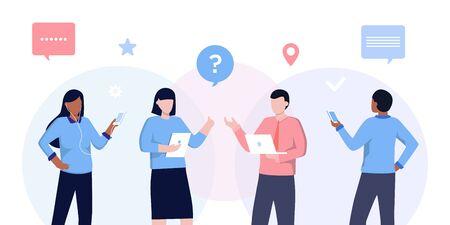 Vector illustration of communication of people in search of solutions problems, use in web-projects and applications, collective thinking. Ethnic business people group full length team, speech bubble Çizim