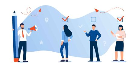 done job concept, checklist. to do list with checkboxes, for web page, banner, Online education, books, exam. Business people team work concept. Questionnaire survey for people give answer, research