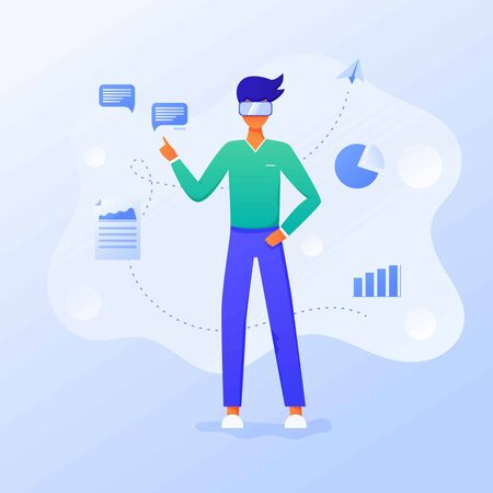 Business man using virtual reality glasses and touching vr interface, data analysis. Into virtual reality world. Future technology. Landing page, banner, infographic template. Guy wearing VR headset Illusztráció