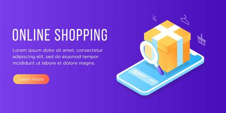 Flat isometric online shopping e-commerce concept: phone, clothes, shopping bag, add to cart, discount coupon, Boutique, clothing store. Landing, banner template. transactions on screen. Fast delivery