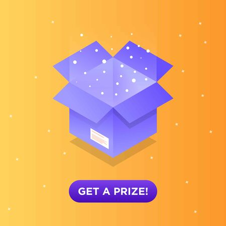 Get your prize, reward isometric vector illustration web banner. Funny cartoon gift box with bow Icon for a game interfaces. You can win prizes. Lottery advertising template.