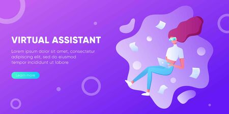 Business woman using virtual reality glasses and touching vr interface, data analysis. Into virtual reality world. Future technology. For landing page, banner, infographic. Girl wearing VR headset